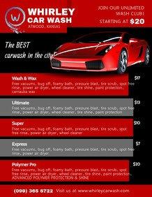 Auto Detail Price List Template Customize 260 Car Wash Flyer Templates