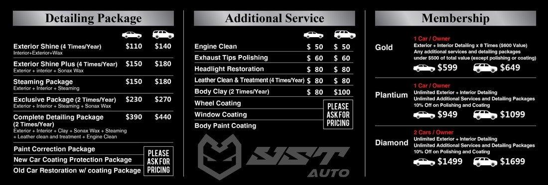 Auto Detail Price List Template Detailing Yst Auto