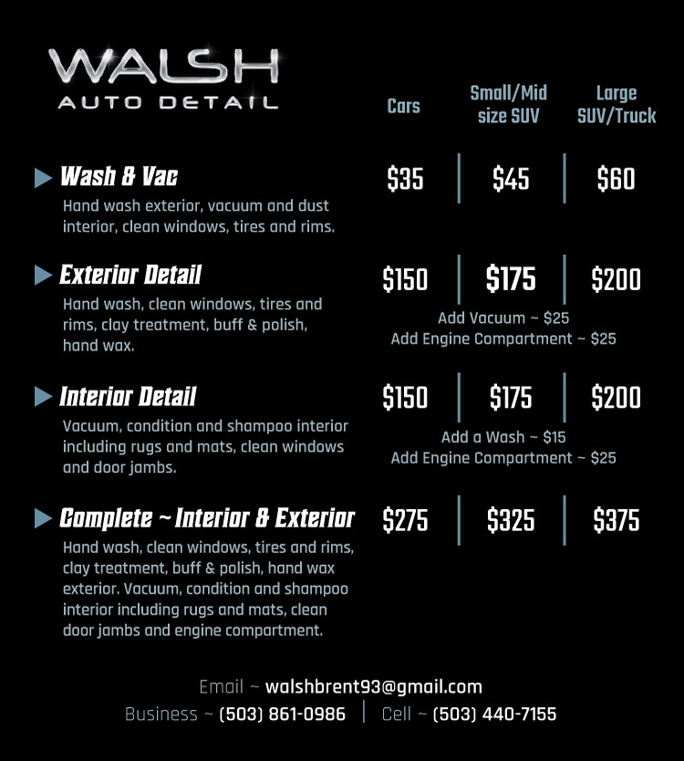 Auto Detail Price List Template Walsh Auto Detail