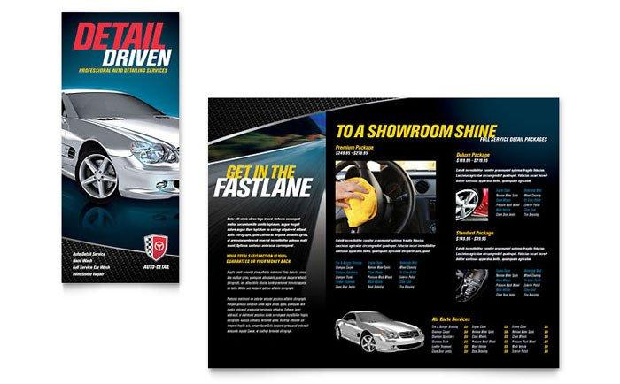 Auto Detailing Flyer Template Auto Detailing Tri Fold Brochure Template Design