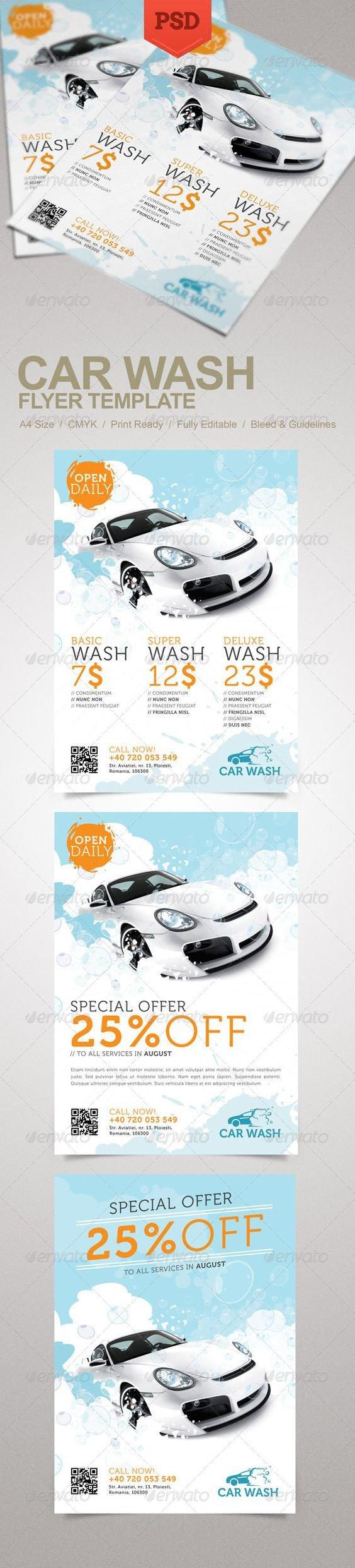 Auto Detailing Flyer Template Car Wash Flyer