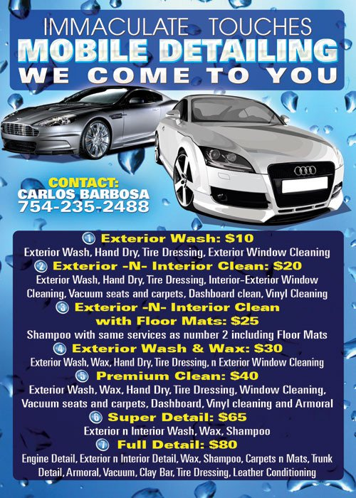 Auto Detailing Flyer Template Immaculate Mobile Car Wash