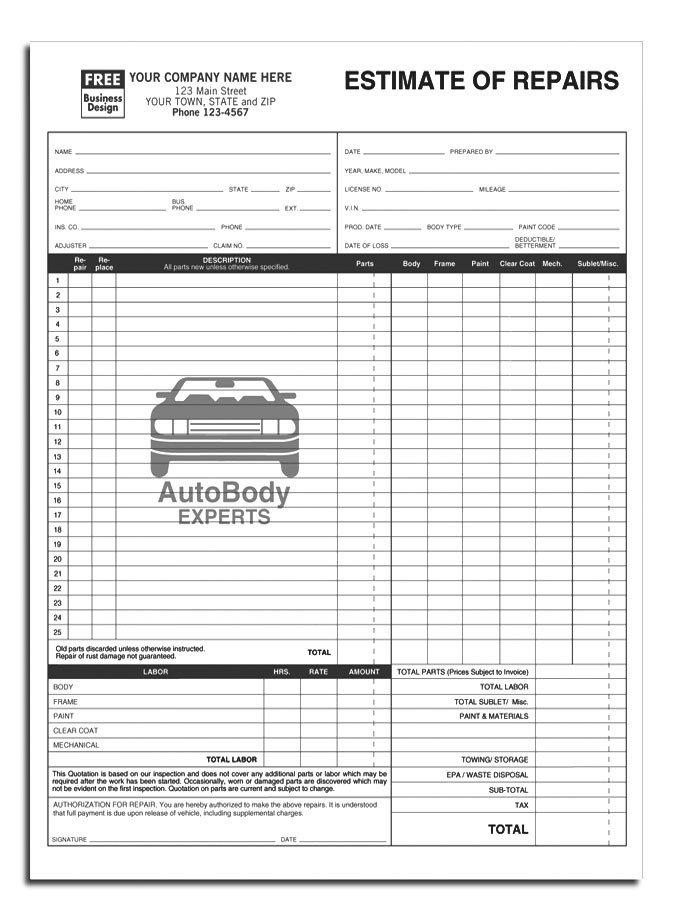 Auto Repair Estimate Template Anchorside Carbonless form Templates