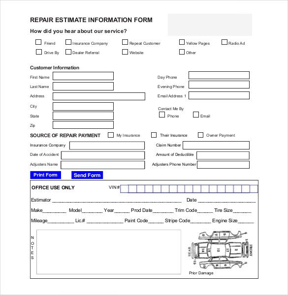 Auto Repair Estimate Template Auto Repair Estimate Template Excel