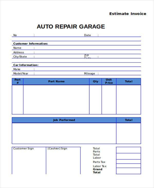 Auto Repair Estimates Templates 9 Auto Repair Invoice Templates Free Word Pdf Excel