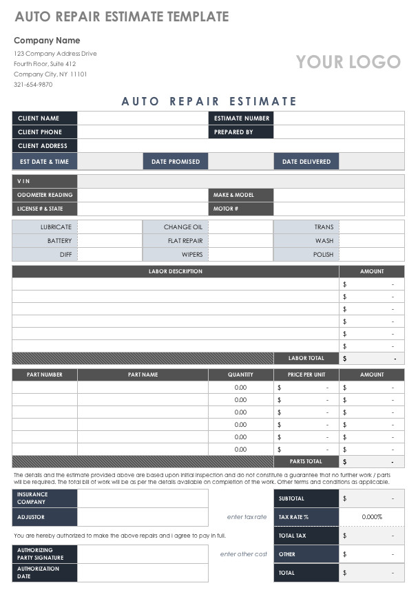 Auto Repair Estimates Templates Free Estimate Templates