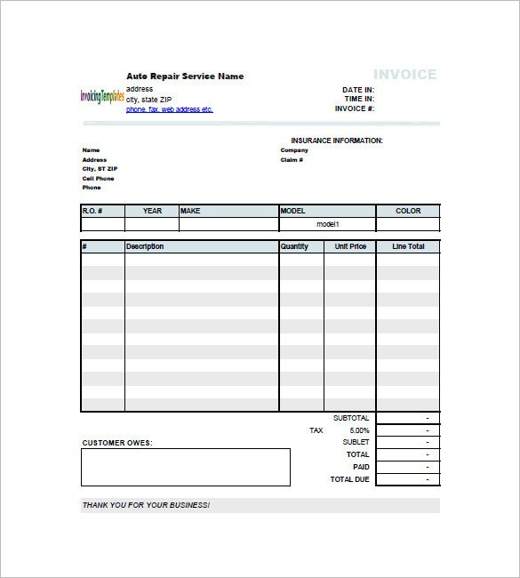 Car Invoice Template 23 Free Word Excel PDF Format