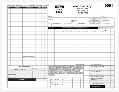 Auto Repair order Template Auto Repair Work order