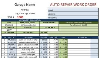 Auto Repair order Template Blank Work order