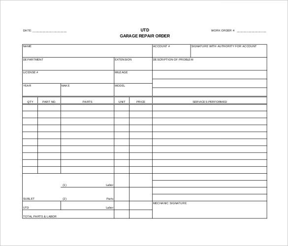 Auto Repair order Template order Template – 20 Free Word Excel Pdf Documents