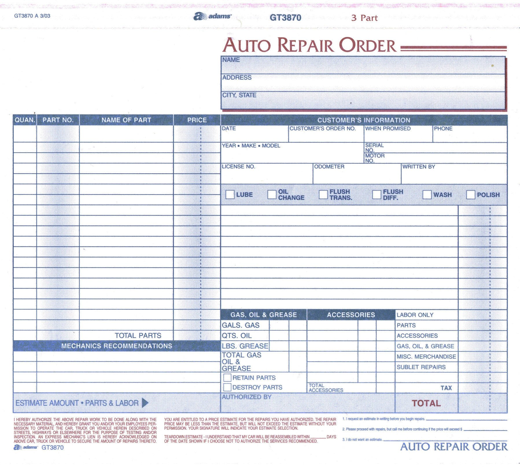 Auto Repair order Template Product