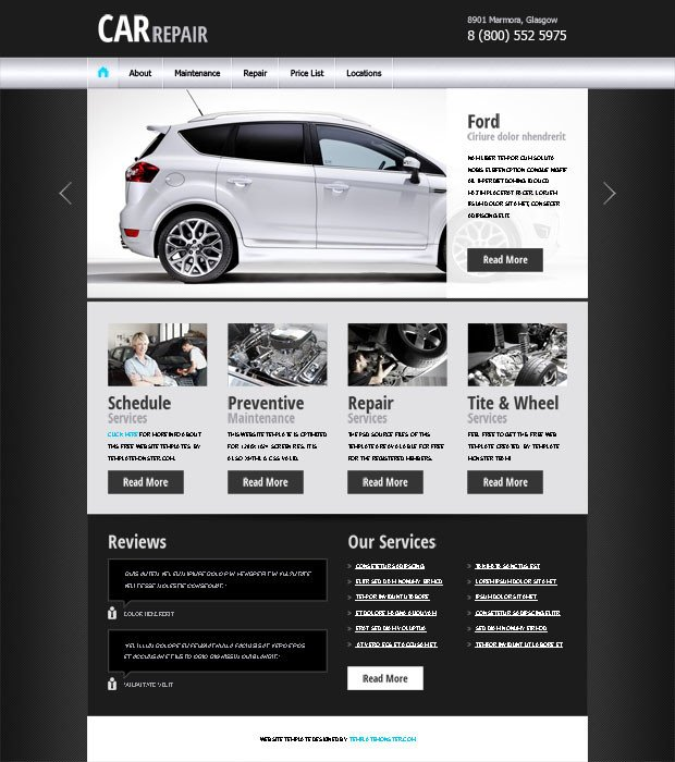 Auto Repair Website Template 20 Auto Parts & Cars HTML Website Templates