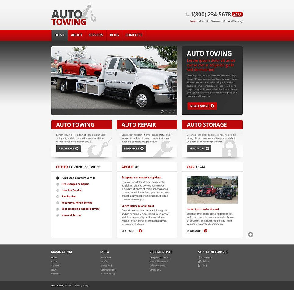 Auto Repair Website Template Auto towing Car Repair Wordpress theme Web Design