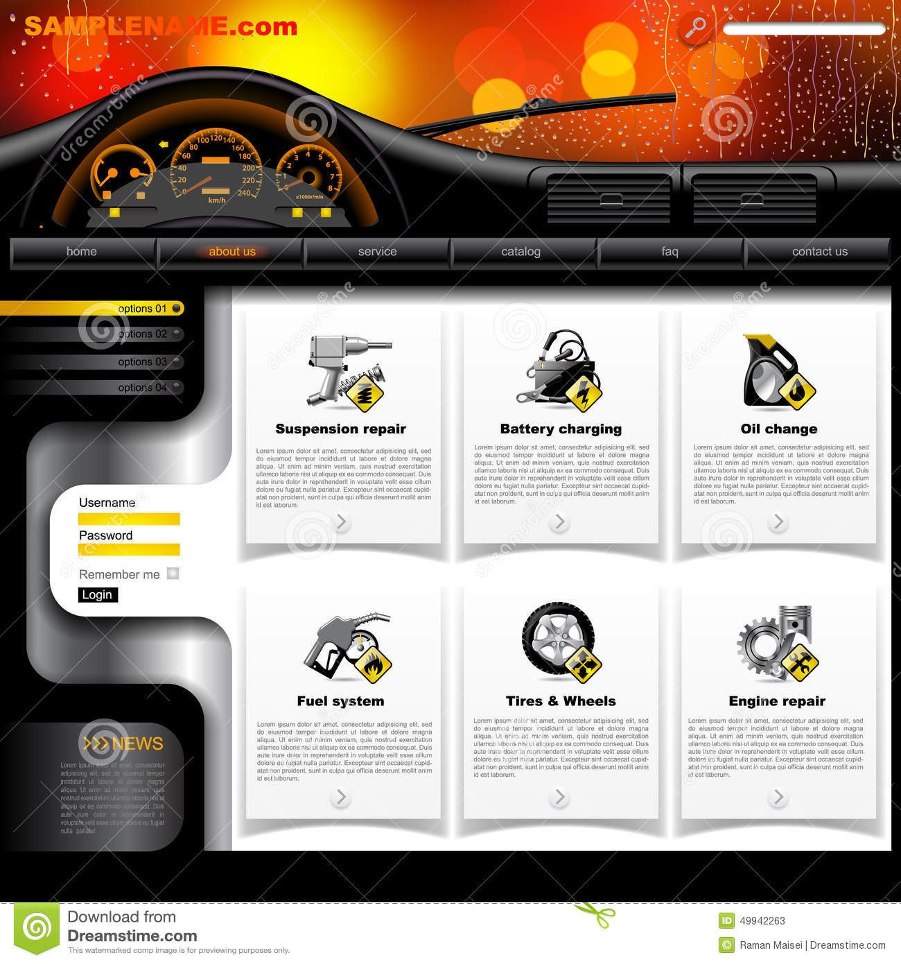 Auto Repair Website Template Automobile Service Website Template Stock Vector Image