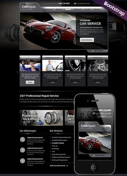 Auto Repair Website Template Car Repair Service Website Template Mobile Responsive