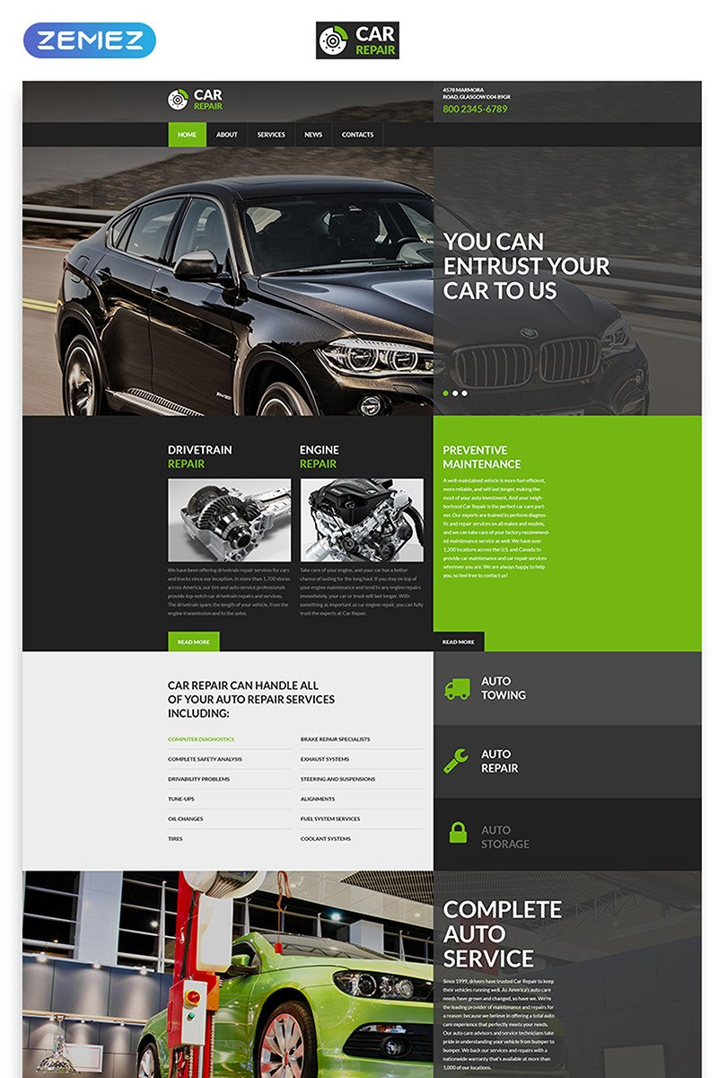 Auto Repair Website Template Car Repair Service Website Template