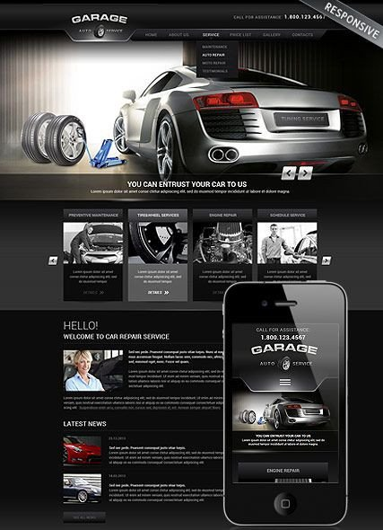 Auto Repair Website Template Car Repair Service Wordpress Template Monile Responsive
