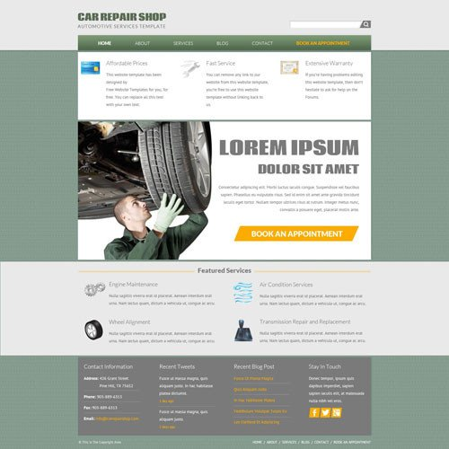 Auto Repair Website Template Car Repair Shop Website Template