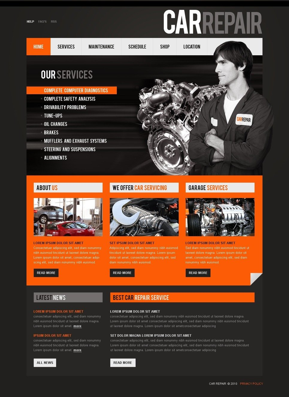 Auto Repair Website Template Car Repair Website Template Web Design Templates