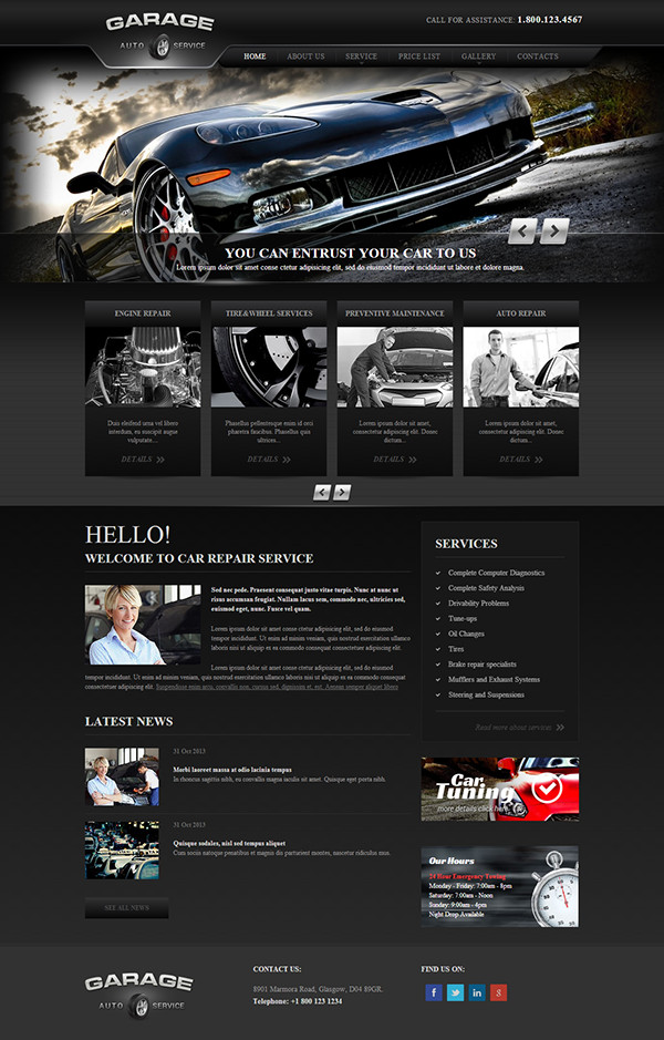 Auto Repair Website Template Garage Car Repair Service Responsive Wordpress Template On