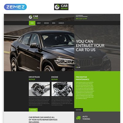 Auto Repair Website Template HTML & Flash Templates