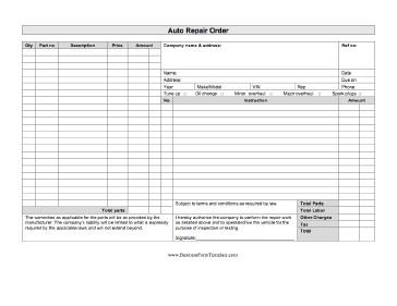 Auto Repair Order Template