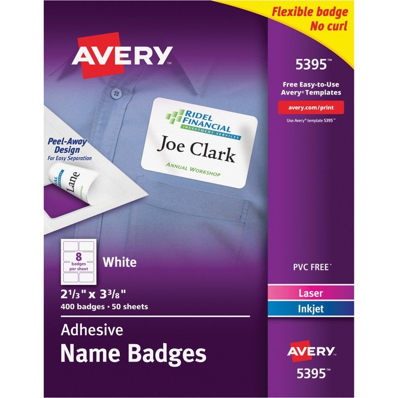 Avery Name Badges Template 5395 Avery 5395 Flexible Adhesive Name Badge Labels the Fice