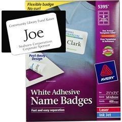"Avery Name Badges Template 5395 Avery 5395 White Adhesive Name Badges 2 1 3 X 3 3 8"""