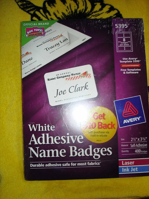 Avery Name Badges Template 5395 Avery Adhesive Name Badges Labels 5395