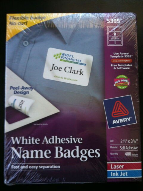 """Avery Name Badges Template 5395 Avery Dennison Ave 5395 Name Badge Label 2 33"""" Width X 3"""