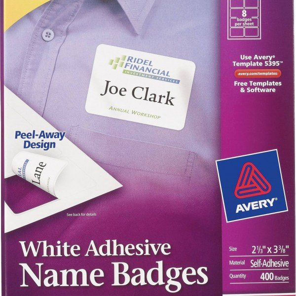 Avery Name Badges Template 5395 Avery White Adhesive Name Badge Labels 5395 Avery
