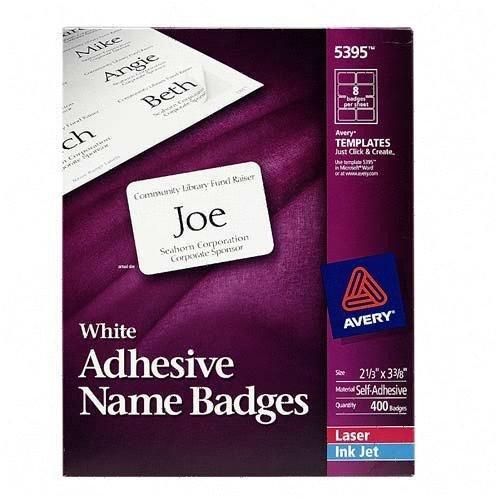 Avery Name Badges Template 5395 Printer