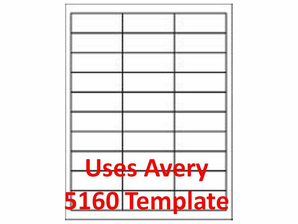 """Avery Word Template 5160 3000 Laser Ink Jet Labels 1"""" X 2 5 8"""" 30up Address"""