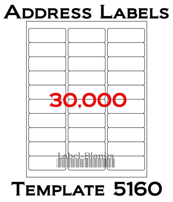 Avery Word Template 5160 Laser Ink Jet Labels 1000 Sheets 1 X 2 5 8