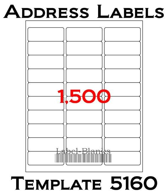 Avery Word Template 5160 Laser Ink Jet Labels 50 Sheets 1 X 2 5 8