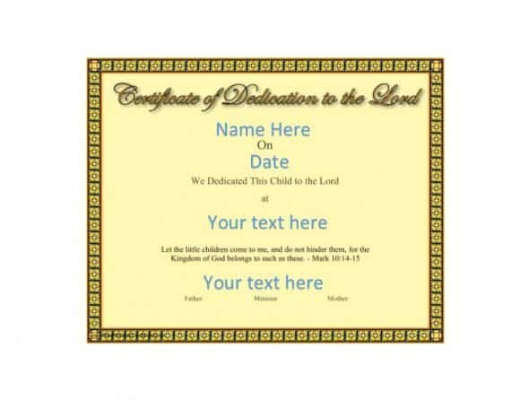 Baby Dedication Certificate Template 50 Free Baby Dedication Certificate Templates Printable