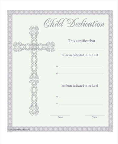 Baby Dedication Certificate Template Baby Dedication Certificate 6 Examples In Pdf