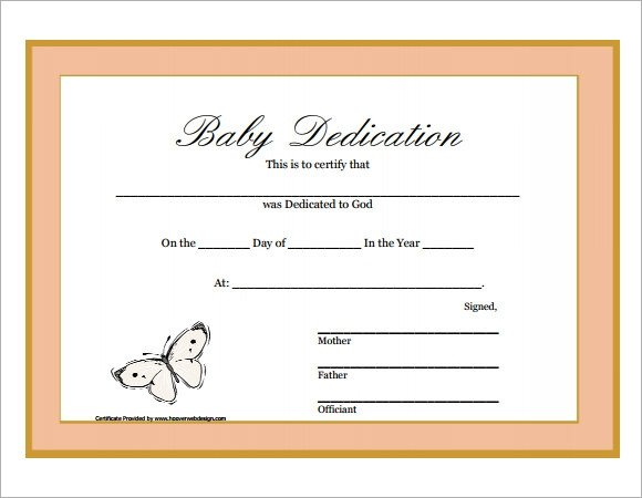 Baby Dedication Certificate Template Baby Dedication Certificate 9 Download Free Documents