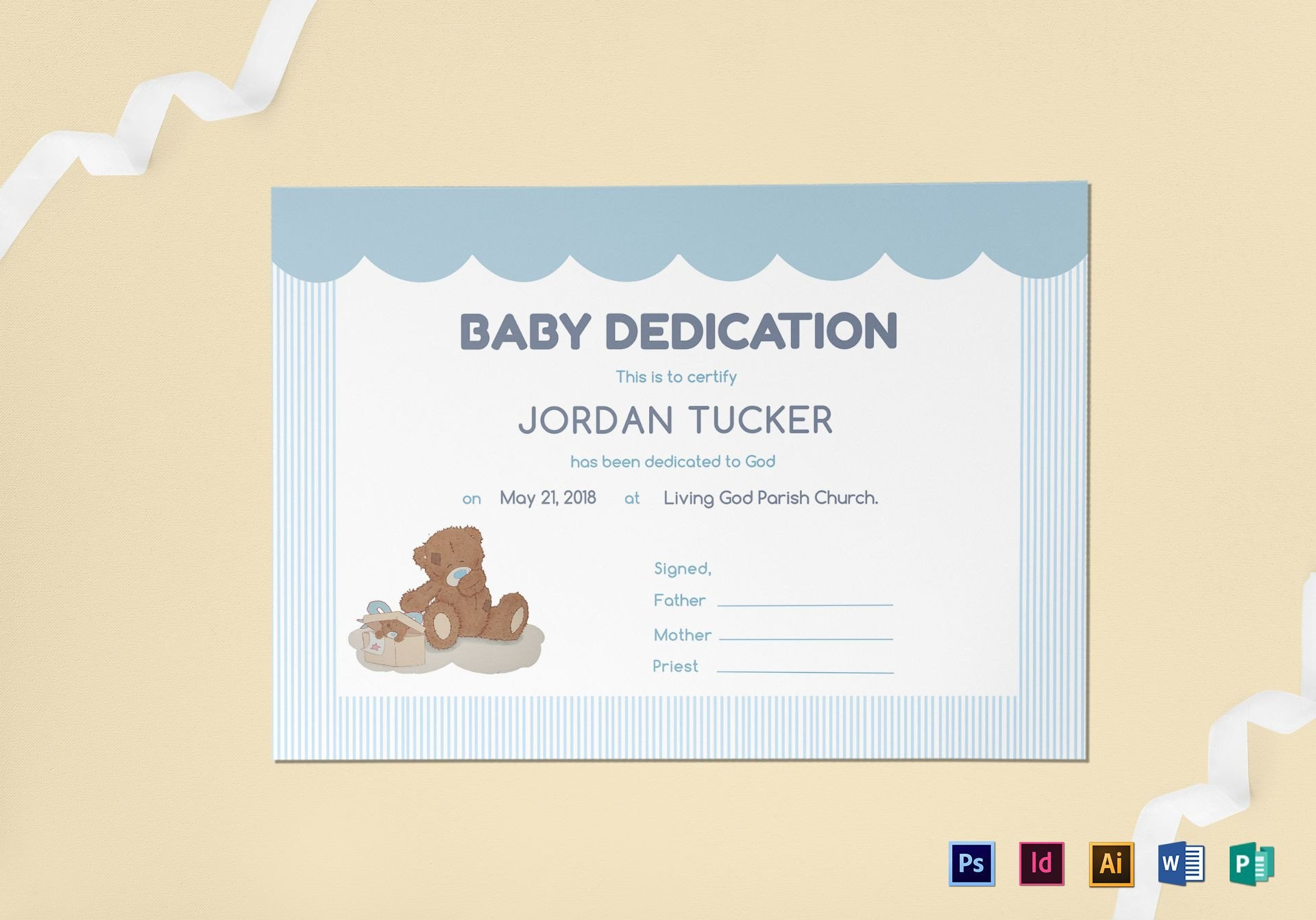 Baby Dedication Certificate Template Baby Dedication Certificate Design Template In Psd Word