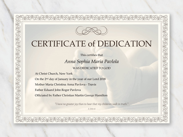 Baby Dedication Certificate Template Baby Dedication Certificate Template for Word [free Printable]