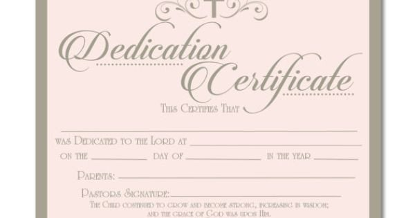 Baby Dedication Certificate Template Printable Baby Dedication Certificate Digital by