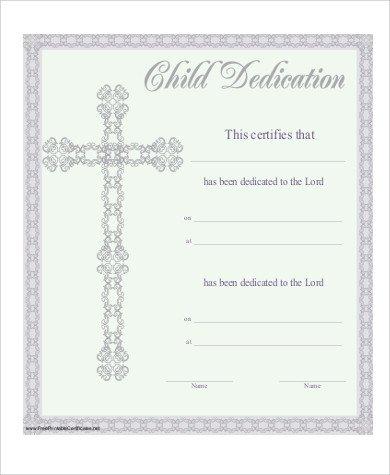 Baby Dedication Certificate Templates Baby Dedication Certificate 6 Examples In Pdf