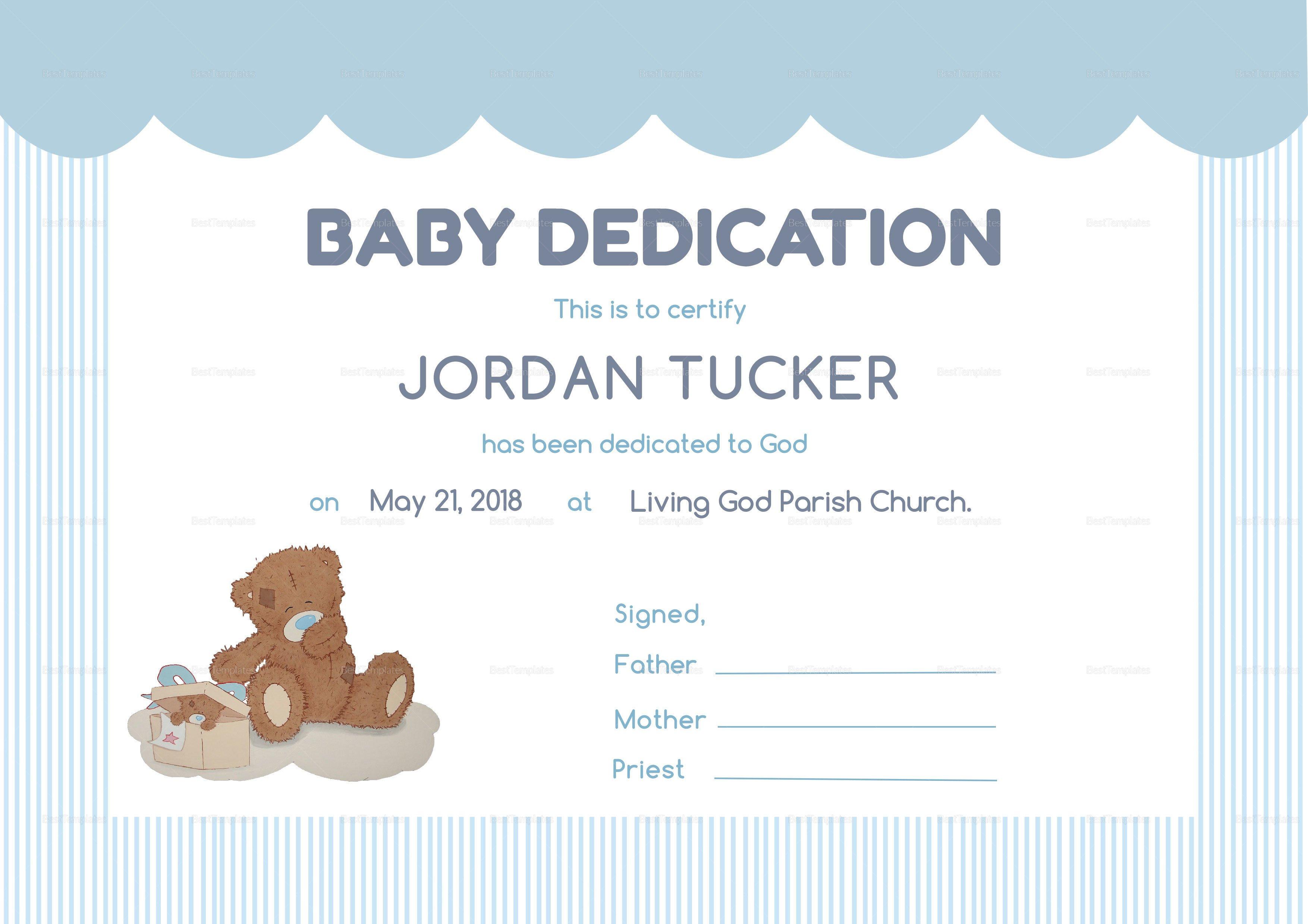 Baby Dedication Certificate Templates Baby Dedication Certificate Design Template In Psd Word