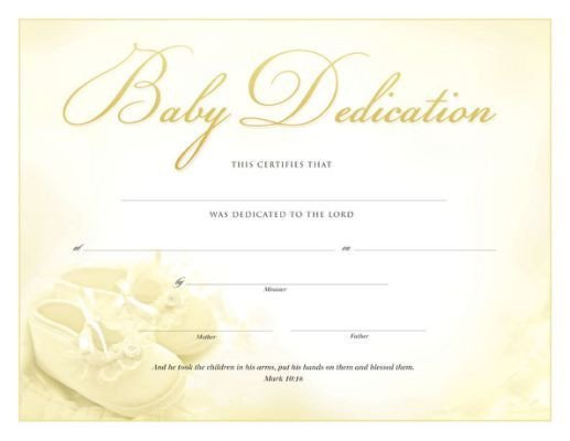 Baby Dedication Certificate Templates Printable Baby Dedication Certificate