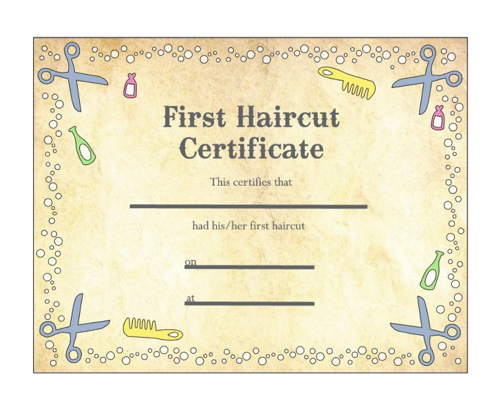 Baby s First Haircut Certificate Keepsake Laminated