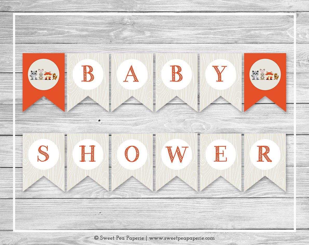 Baby Shower Banner Printable Woodland Animals Baby Shower Banner Printable Baby Shower