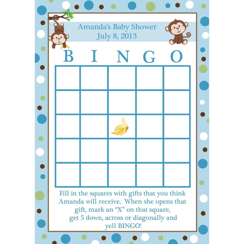 Baby Shower Bingo Template 24 Personalized Baby Shower Bingo Cards Little Monkey