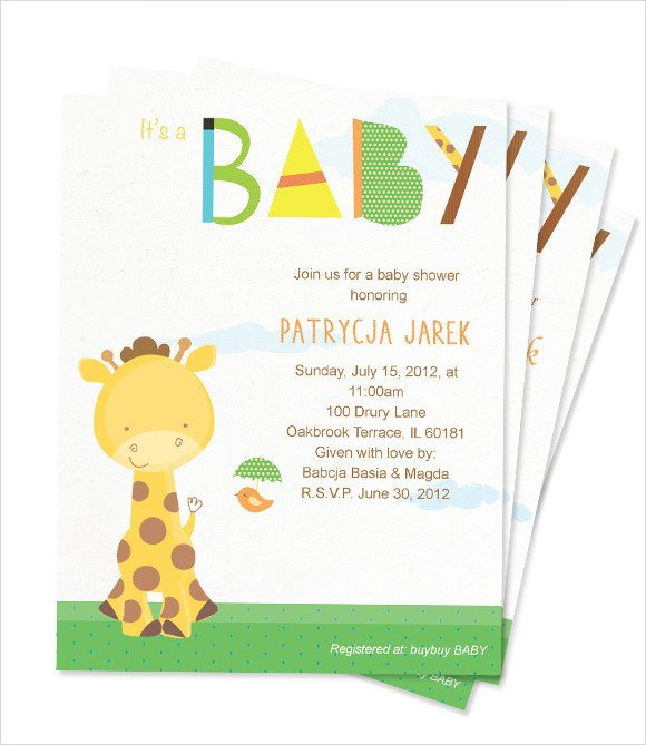 Baby Shower Card Template 9 Baby Shower Card Template Free Samples Examples