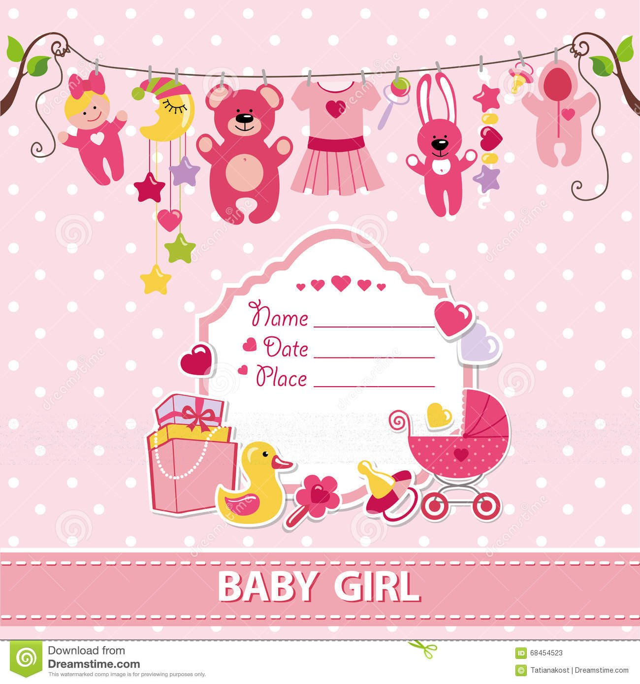 Baby Shower Card Template Baby Girl Invitation Templates