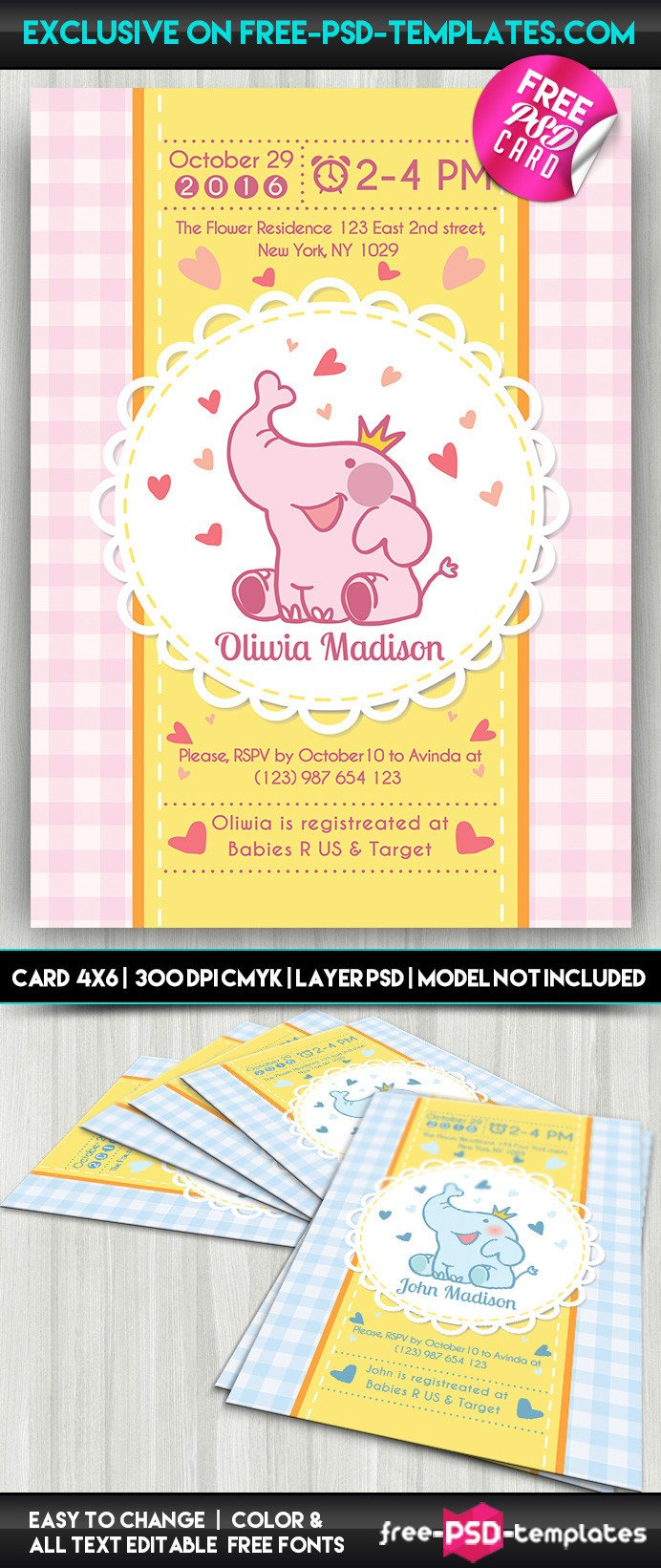 Baby Shower Card Template Baby Shower Card – Free Psd Card Template On Behance